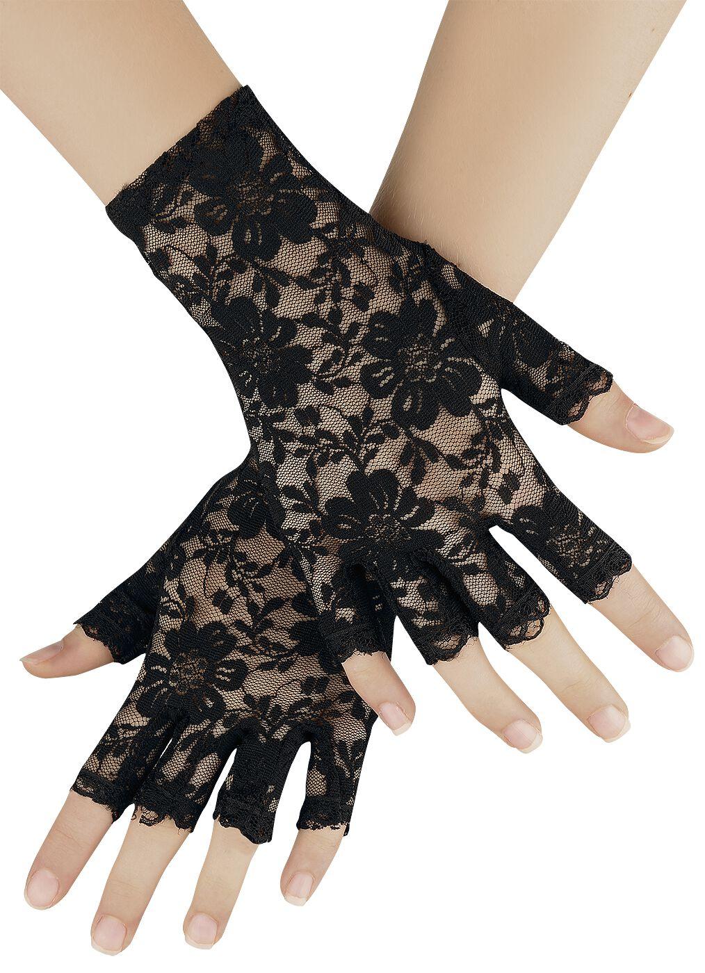 Handschuhe für Frauen - Blumenspitze Handschuhe schwarz  - Onlineshop EMP