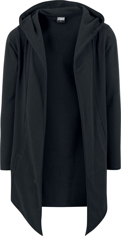 Image of Urban Classics Long Hooded Open Edge Cardigan Cardigan schwarz