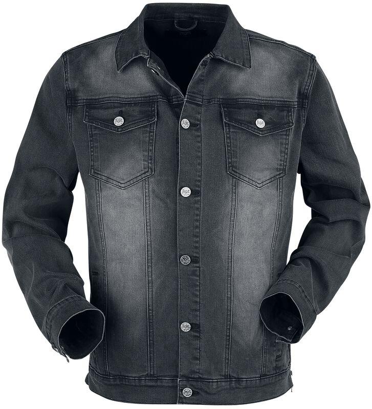 dunkelgraue Jacke mit Brusttaschen und Knopfleiste
