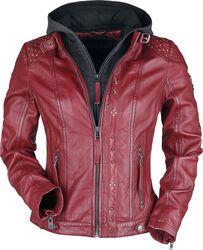 Rote Lederjacke mit grauer Kapuze und Nieten
