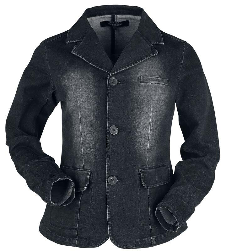Schwarze Jeansjacke mit Waschung