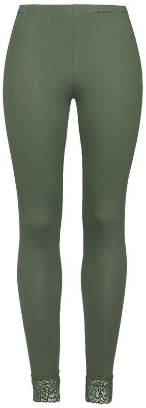 grüne Leggings mit Spitzensaum Black Premium