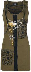 Rock Rebel X Route 66 - Grünes Kleid mit Schnürung und Prints
