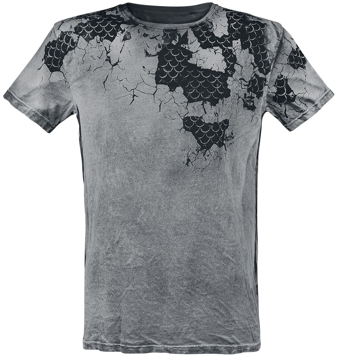 Outer Vision Scales Inside T-Shirt grau 9672-OV Mans T-Shirt Scales Inside Spray Washed Bl