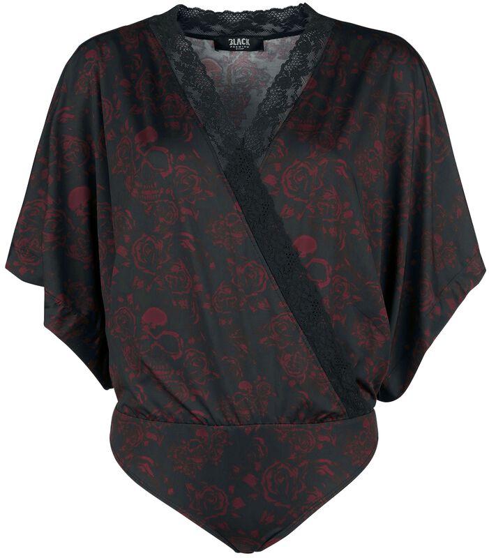 Schwarzer Body in Wickeloptik, mit Kimono-Ärmeln und Alloverprint