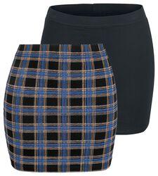 Kurze Röcke in schwarz und kariert mit elastischem Bund