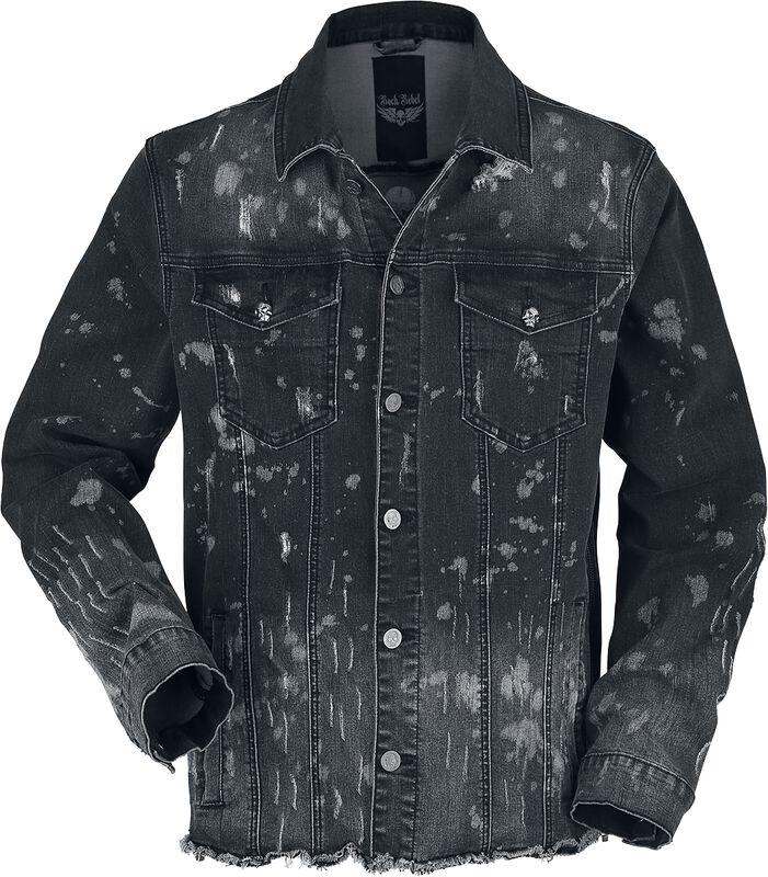 Schwarze Jeansjacke mit Waschung und offener Saumkante