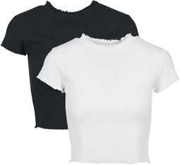 Ladies Cropped Rib Tee Double Pack