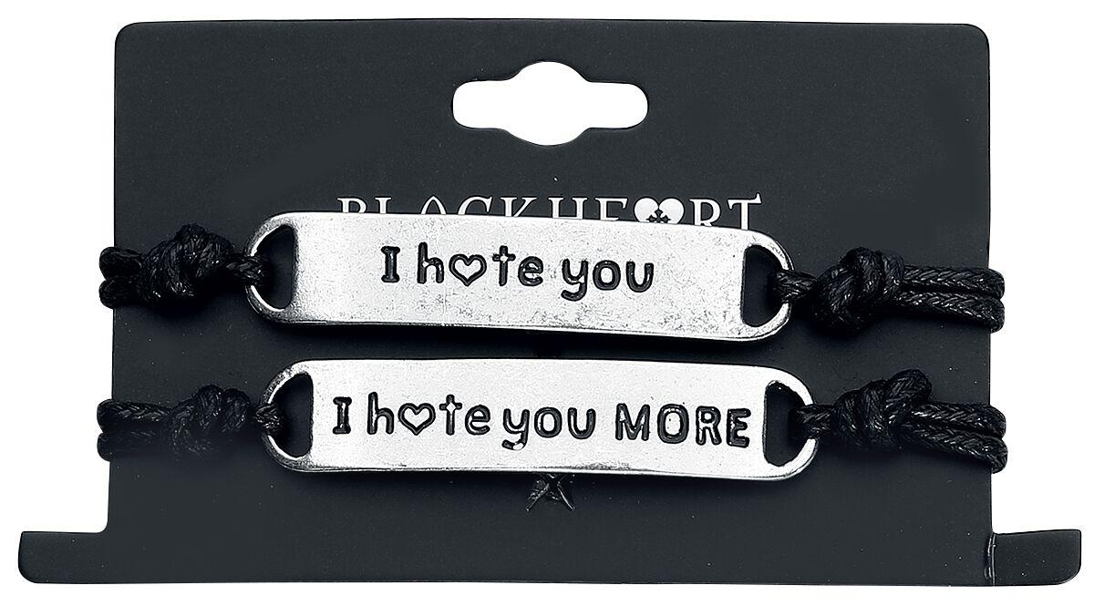 Image of Blackheart I Hate You Armband-Set schwarz/silberfarben