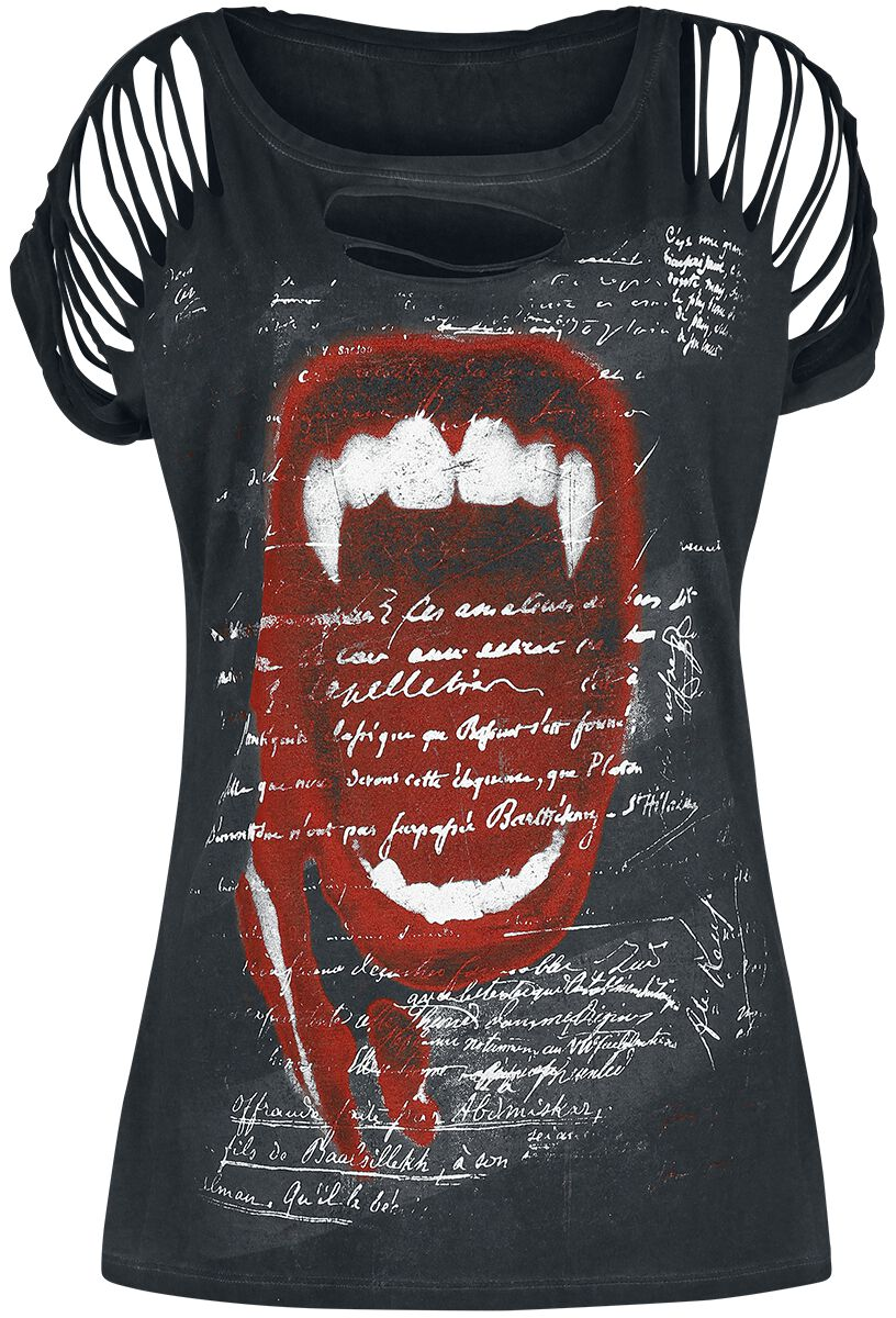Outer Vision Vampire Scream T-Shirt grau 2847-OV Woman's Top Rosa Vampire Scream oil Dye