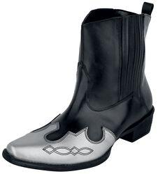 Schwarze Cowboy-Boots mit farblich abgesetzter Schuhspitze