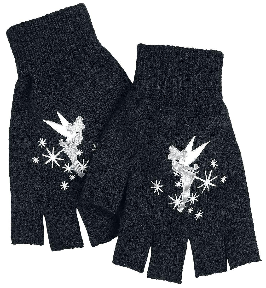Handschuhe - Peter Pan Tinker Bell Stars Kurzfingerhandschuhe schwarz weiß  - Onlineshop EMP