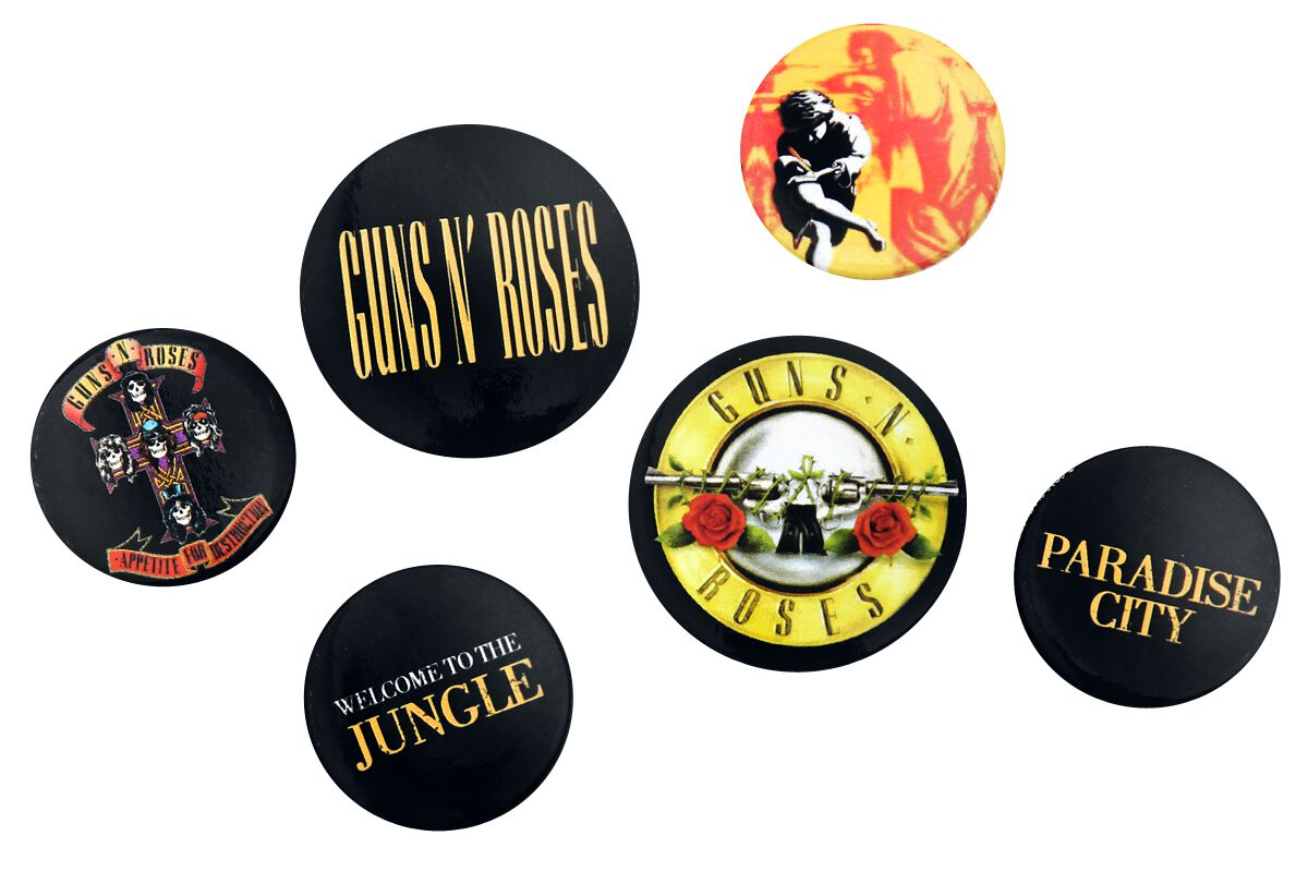 Image of Guns N' Roses Lyrics and Logos Button-Pack multicolor