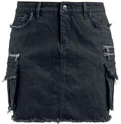 Schwarzer Jeansrock mit Taschen Rock Rebel