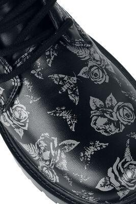 Schwarze Schnürboots mit Rosen- und Motten-Print