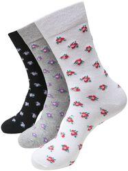 Recycled Yarn Flower Socks 3-Pack