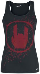 Schwarzes Top mit farbigem Rockhand-Print