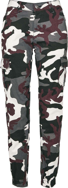 Hosen - Urban Classics Ladies High Waist Camo Cargo Pants Cargohose burgund camo  - Onlineshop EMP