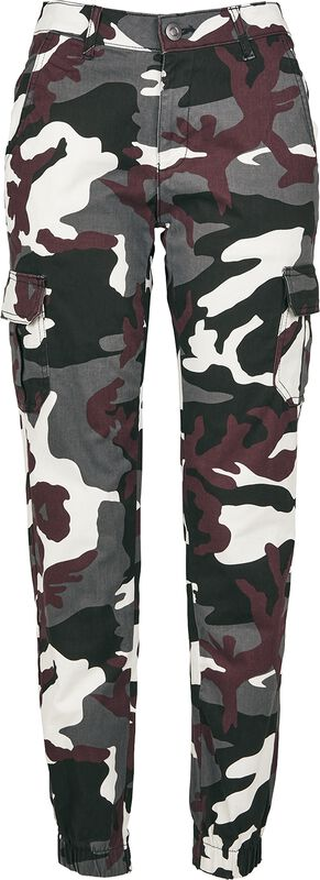 Ladies High Waist Camo Cargo Pants