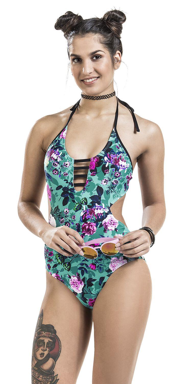 Bademode - Fashion Victim Floraler Monokini Badeanzug multicolor  - Onlineshop EMP