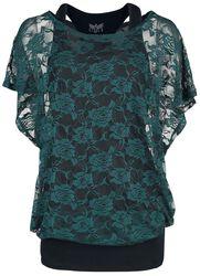 schwarzes Top mit grünem Spitzen T-Shirt