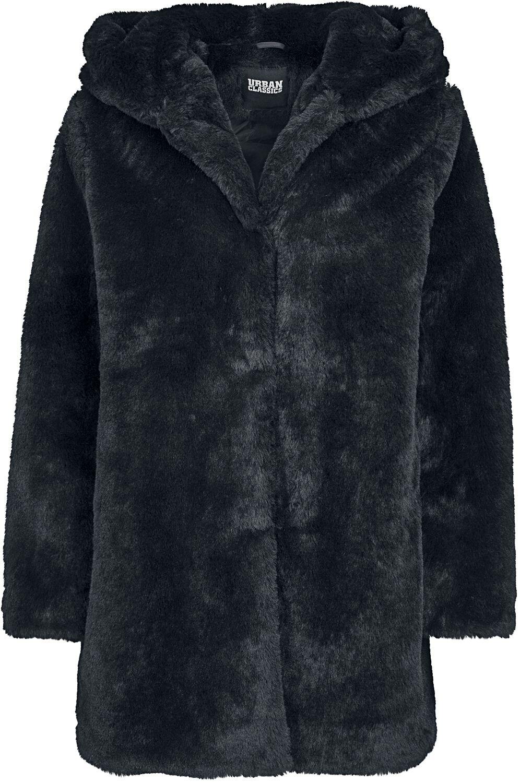 Fanprodukter Urban Classics Ladies Hooded Teddy Coat Damejakke svart