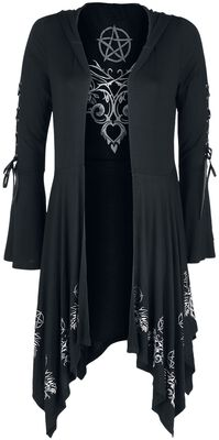 Gothicana X Anne Stokes - Schwarzer Cardigan mit Kapuze, Schnürung und ausgestellten Ärmeln