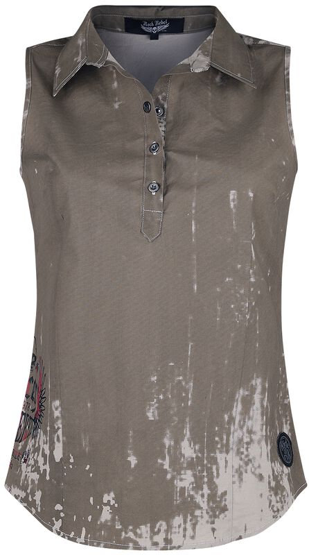 Beiges Kurzarmhemd mit Waschung und Print