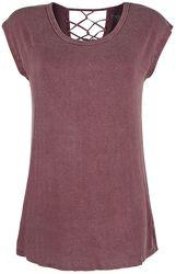 bordeaux rotes T-Shirt mit Zier-Bändern am Rücken