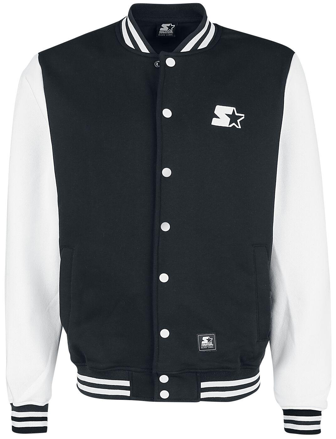 Starter College Fleece Jacket Collegejacke schwarz weiß ST107