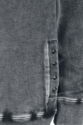 Graue Kapuzenjacke mit Waschung und Nieten