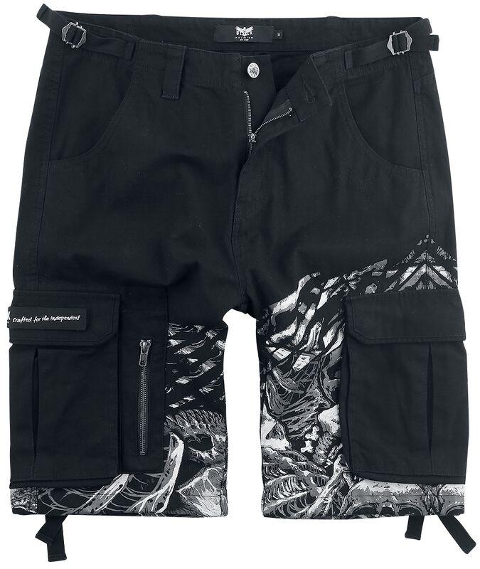 Schwarze Army Shorts mit Print