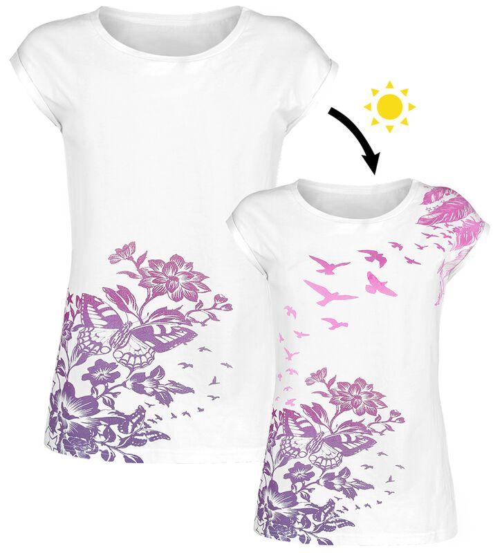 Weißes T-Shirt mit Rundhalsausschnitt und UV-Print
