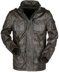 Braune Lederjacke mit Taschen