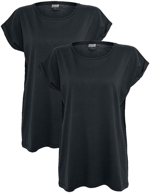 Urban Classics - Ladies Extended Shoulder Tee 2 Pack - Girls shirt - black image