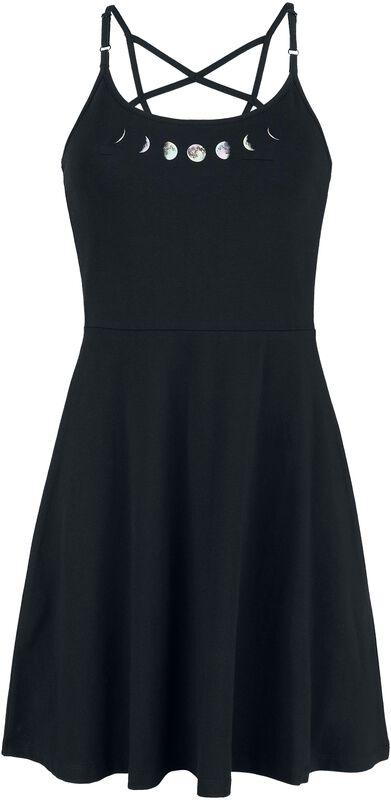 Schwarzes Kleid mit Pentagramm-Trägern und Mondphasen-Print