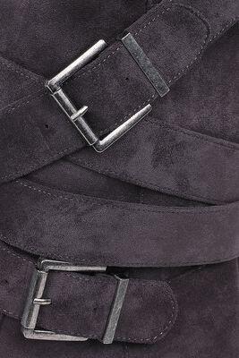Dunkelgraue Stiefel mit Riemen