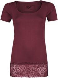 rotes T-Shirt mit Spitzensaum Black Premium