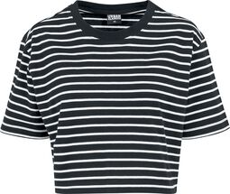 Ladies Short Striped Oversized Tee