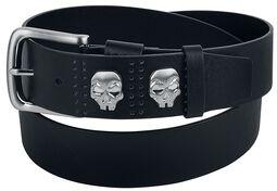 Schwarzer Gürtel mit Skull-Nieten
