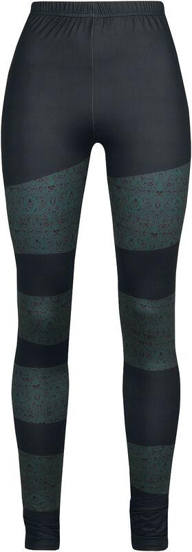 Schwarze Leggings mit farbigen Streifen mit Skull-Muster