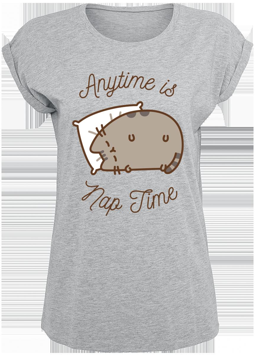 Pusheen - Anytime Is Nap Time - Girls shirt - mottled grey image