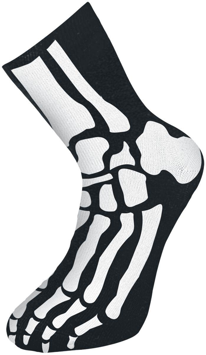 Skelett Socken schwarz 12055