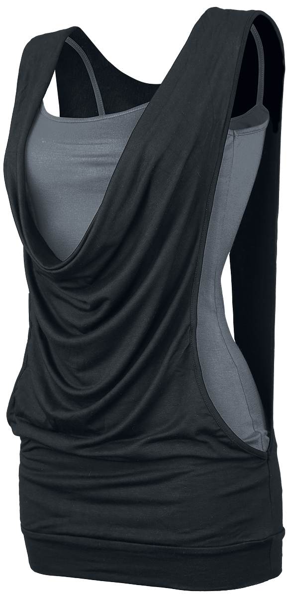 Forplay - Open Double Layer - Girls Top - black-grey image