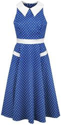 Blue White Polka Dots 40s Swing Dress