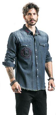 Blaues Jeanshemd mit Patches und Waschung