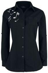 schwarzes Langarmhemd mit Notenprint