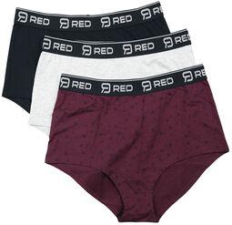 Schwarz/grau/rotes Panty-Set