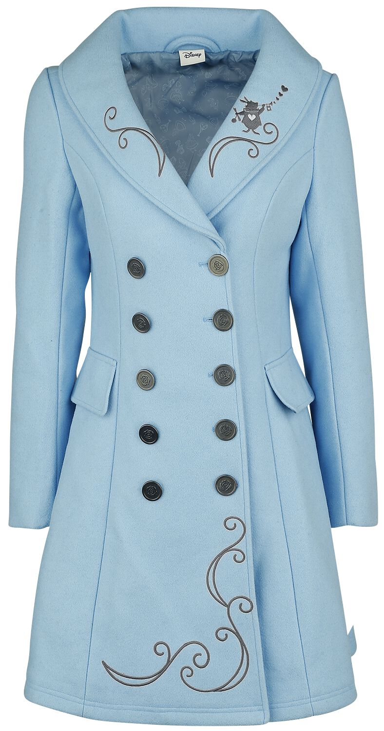 Image of Alice in Wonderland We're All Mad Here Cappotto donna azzurro