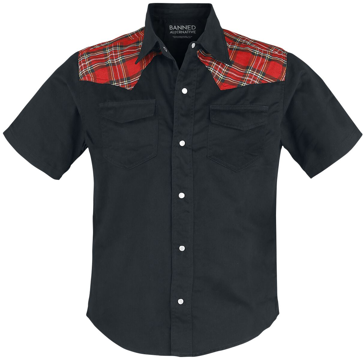 Image of Banned Alternative Tartan Shirt Camicia nero